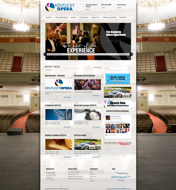 Contemporary Design for website: Kentucky Opera
